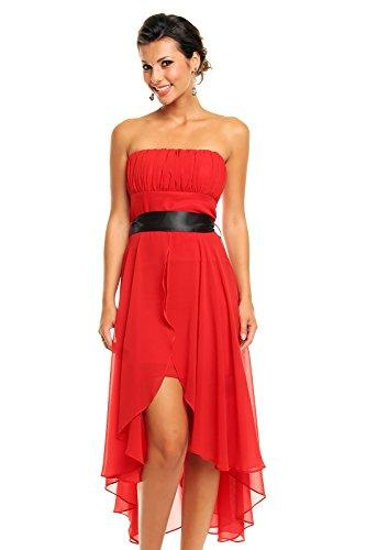 trägerloses Cocktailkleid Bandeau Abendkleid Abiballkleid vorne kurz hinten lang rot S