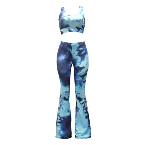 ZhiyuanAN Donna Due Pezzi Stampa Tie Dye Stretch Pantaloni E Sportivo Reggiseno Senza Spalline Pantaloni Gamba Larga E Top Stile 14