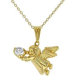In Season Jewelry - Filles Enfants - Ange Guardien Pendentif Collier - Plaqué Or 18k - Zircone Cubique - 40 cm