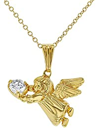 In Season Jewelry - Filles Enfants – Ange Guardien Pendentif Collier - Plaqué or 18k - Zircone Cubique - 40 cm
