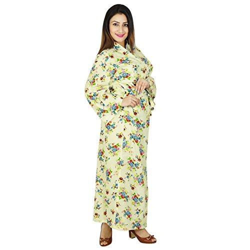 Lange Robe Blumendruck -Brautjungfern -Geschenk Hochzeit Bevorzugungen Kimono Crossover Robe Off White And Blue