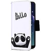 Uposao Handyhülle für iPhone XS Max Handytasche Retro Muster Leder Flip Case Cover Tasche Ledertasche Lederhülle Bookstyle Klapphülle mit Kartenfach Magnetverschluss,Schwarz Panda