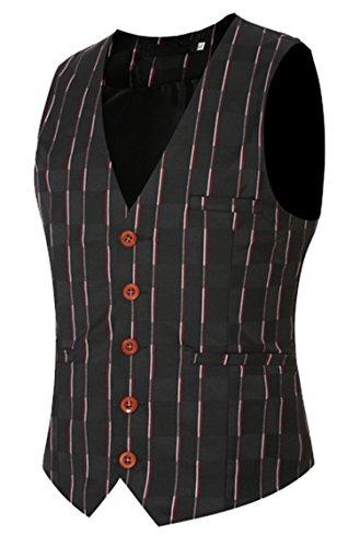 DD UP Herren Business Casual Blazer Button Waistcoat Anzug Weste Schwarz