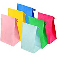 Keriber 30 Pieces Christmas Party Bags Gift Paper Bags Grocery Bags Craft Paper Bags Lunch Flat Bottom Paper Bags,6 Colors