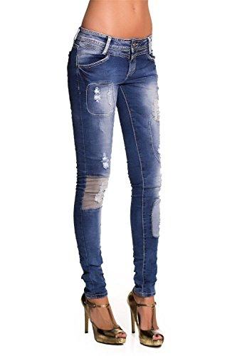 Q2 donna Jeans skinny con toppe Blu
