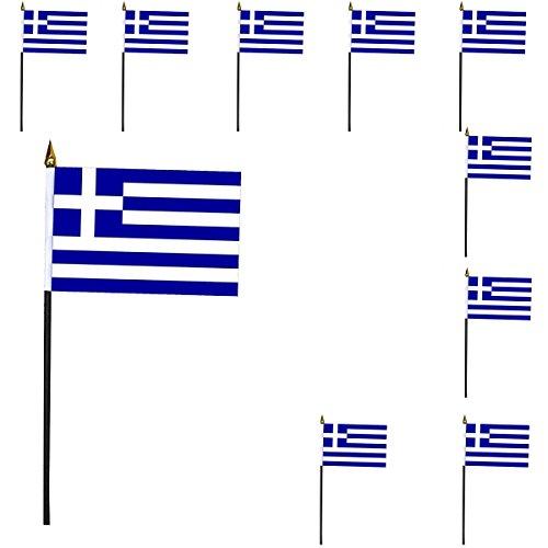Sonia Originelli 10er SET Mini Flaggen WM Fußball 10x15 cm Party Anfeuern Fahnen Farbe Griechenland -