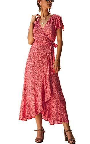 Spec4Y Damen Boho Lange Kleider V-Ausschnitt Sommerkleider Kurzarm Wickelkleid Maxikleid Strandkleid mit Schlitz Weinrot XL (Versand Prime Club-kleid)