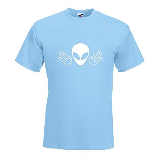 KIWISTAR - Alien Doppel Shocker T-Shirt in 15 verschiedenen Farben - Herren Funshirt bedruckt Design Sprüche Spruch Motive Oberteil Baumwolle Print Größe S M L XL XXL Himmelblau