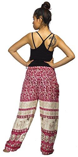 Lofbaz Pantaloni da Donna Smocked Waist Boho Funky Harem Pants Elefante Floreale Rosa