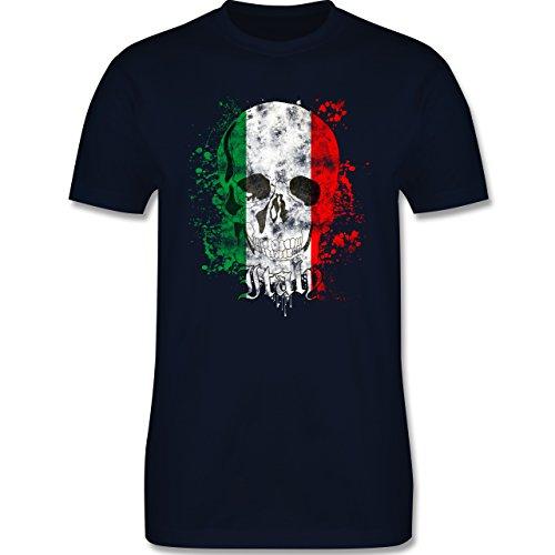EM 2016 - Frankreich - Italy Schädel Vintage - Herren Premium T-Shirt Navy Blau