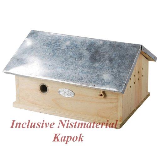 #Hummelhaus inclusive Nistmaterial (Kapok)Nistkasten Hummel-Hotel Brutkasten-Holz Neu#