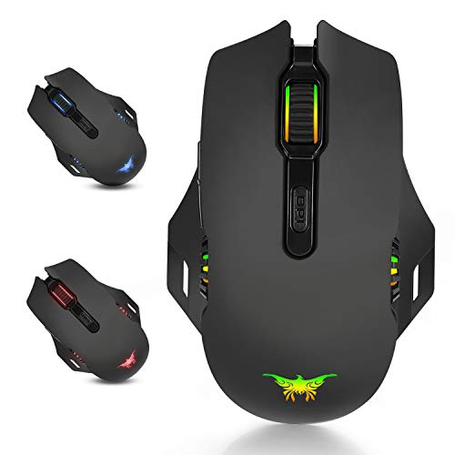 Desxz Gaming Maus, Wiederaufladbare Gaming Maus Ohne Kabel LED Mouse Ergonomische mit 4 einstellbare DPI, 8 Tasten, 3 Farben Atem-Lichte für Pro Gamer Spieler
