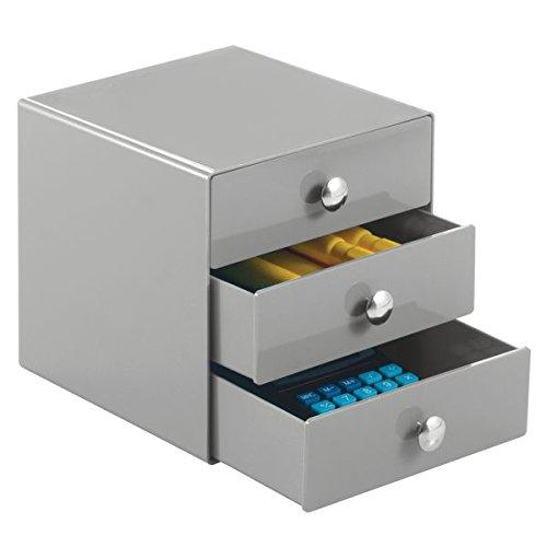mDesign Schubladenbox aus robustem Kunststoff – praktischer Schreibtisch Organizer mit 3 Schubladen – stilvolles Ordnungssystem Büro mit Chromgriffen – grau