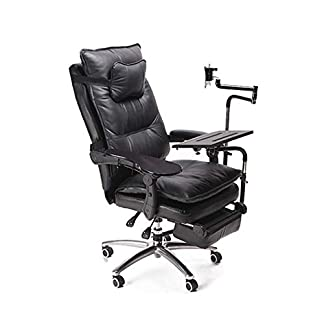 Esports Silla de juego Material de cuero de vaca Escritorio movil silla giratoria de oficina casual en el hogar,Black