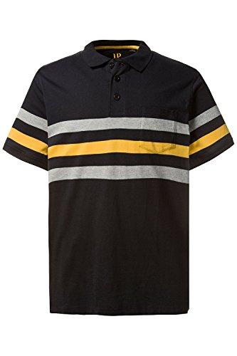 JP 1880 Herren große Größen bis 7 XL | Poloshirt aus 100 % Baumwolle | Polohemd mit Streifen | Shirt mit Knopfleiste, Polokragen & Brusttasche | Seitenschlitze | 708432 Schwarz