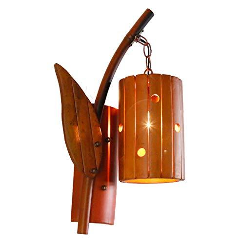 LPZF Handgefertigt Kreativ Bambus Schattierungen Wandlampe E27, Wandleuchte Rustikal Design Vintage Wandleuchte Hotel Flur Bar Beleuchtung-1-Lichter 25x48cm