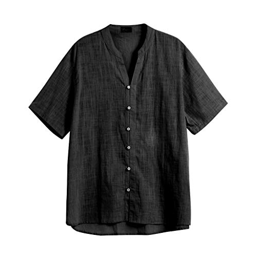 Herren Langarm Henley Shirt Freizeit Strand Yoga Loose Fit Tops Bluse -