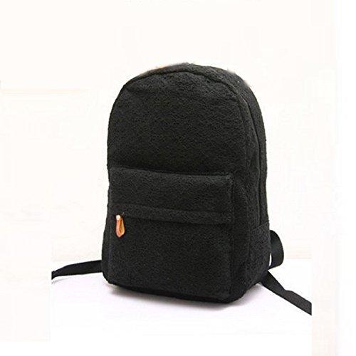Tongshi Bolso de la manera del cordón de las muchachas linda mochila de lona del bolso de escuela del bolso de Bookbag