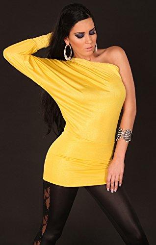 Stretch One Shoulder Longtop Shirt mit Spitze aus glänzendem Material Gelb