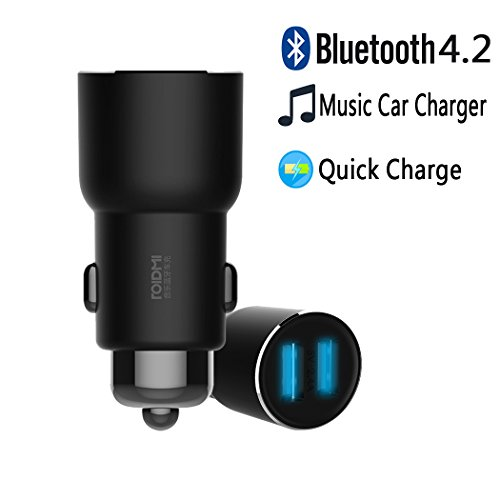 Xiaomi Bluetooth Car Charger, OLLIVAN Roidmi 3S Cigarette Lighter USB Charger 5V/2.4A Dual USB Port Car Chargers Adapter for All Cars FM Transmitter Music Play App Control for Android & IOS (3S Black)