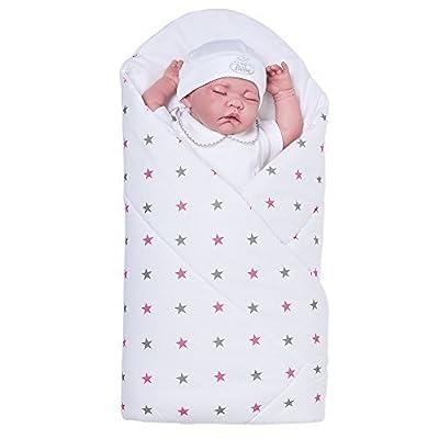 Sevira Kids-Saco de dormir de bebé multiusos (100% algodón certificado-Nido de ángel nacimiento-Stars-Diferente Colores