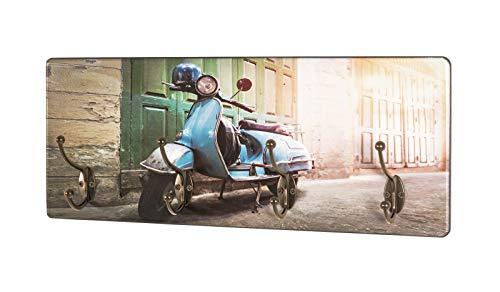 Haku Wandgarderobe aus MDF mit UV-Drucktechnik Motivdruck (Roller), 4 Garderobenhaken aus Metall in bronzefarben; Maße (B/T/H) in cm: 50 x 5 x 20