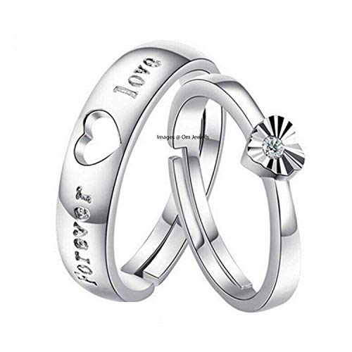 Om Jewells Rhodium Plated Valentine's Day Special Love Forever Proposal Heart Couple Ring for Women and Men CO1000204