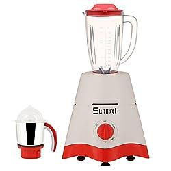 Sunmeet White Color 600Watts White Color Mixer Juicer Grinder with 2 Jar (1 Juicer Jar without filter and 1 Chuntey Jar)