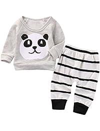 Covermason Bebé Unisex Lindo Panda Impresión Camiseta y Rayas Pantalones (2PCS/1 conjunto)