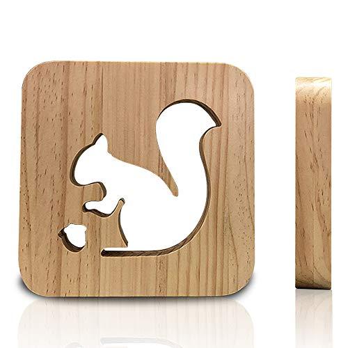 (Bedoo 3D Holz LED Nachtlichter, Illusion Squirrel Lampe zum Schlafen Beleuchtung Cute Halloween Geburtstag Geschenke Creative House Schlafzimmer Erwärmung Dekorationen Ideal Handwerk)