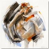 Alu-Dibondbild Modest II de Kitty Meijering, 80 x 80 cm, diseño de hasta los bordes, diseño, carteles, pintura, modern, erotismo, desnudo artístico, mujer desnuda, cedido, melancolía, de época, Woh.. , fabricación de gran calidad - Tipo de galería shop
