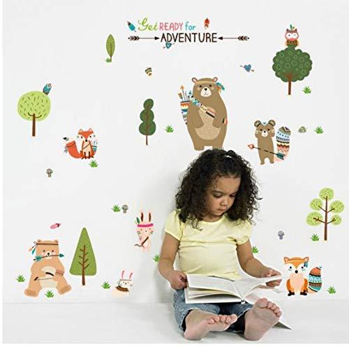 Yzybz Cartoon Bär Wandaufkleber Für Kinder Schlafzimmer Dekoration Niedlichen Tiere Diy Poster Wandkunst Aufkleber ()