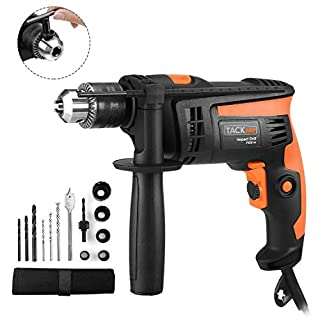 Hammer Drill, Tacklife Hand Electric Drill 710W, 2800 RPM, Variable Speed, Hammer & Drill 2 Modes in 1, 13mm Keyed Chuck, 360°Rotating Handle, 12 Pcs Accessories Set| PID01A