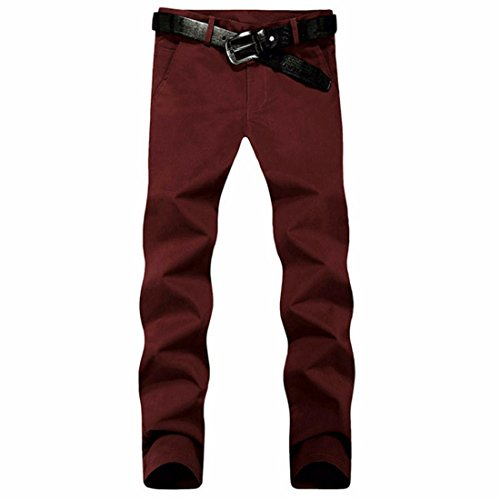 Men's Casual Slim Fit Skinny Cotton Trousers red