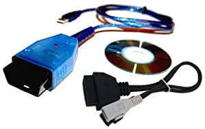 AutoDia K409 Auto Diagnose VAG Fahrzeugdiagnose Interface USB kompatibel mit CarPort, VAG-COM bis Version 409, VCDS-Lite, VWTOOL plus 2x2 Adapter für alte Fahrzeuge