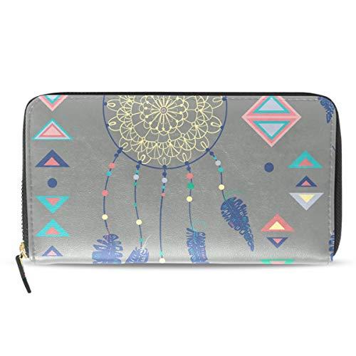 Emoya - Cartera Larga para Mujer, diseño de atrapasueños, Plumas de pájaro, Monedero, Tarjetero