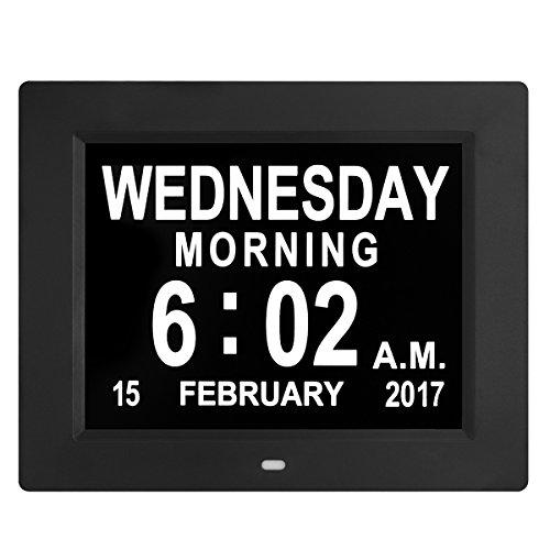 Digitale Wanduhr, Wecker, große LED-Ziffern, extra große Uhr mit elektronischem Kalender und Tagesanzeige, mit Schnur, Schwarz (Stand Night Wecker)