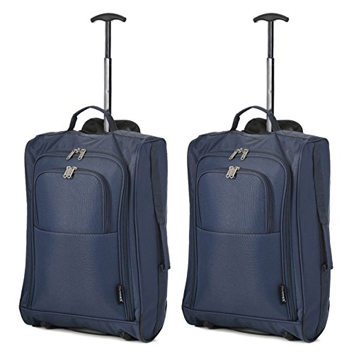 5 Cities Set of 2 Super Lightweight Cabin Approved Luggage Travel Wheely Suitcase Wheeled Bags Set di valigie 55 centimeters 42 Blu (Navy Blue)
