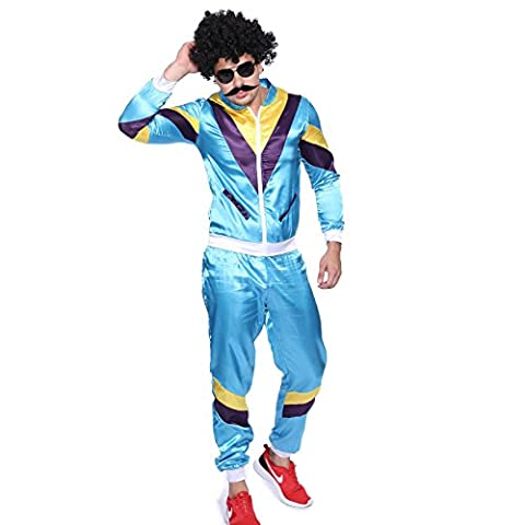 70 80er Jahre Retro Trainingsanzug Asi Assi-Anzug Karneval Kostüm Verkleidung (80 Anzug Kostüm)