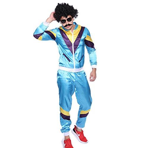 70 80er Jahre Retro Trainingsanzug Asi Assi-Anzug Karneval Kostüm Verkleidung (80er Jahre Anzug Kostüm)