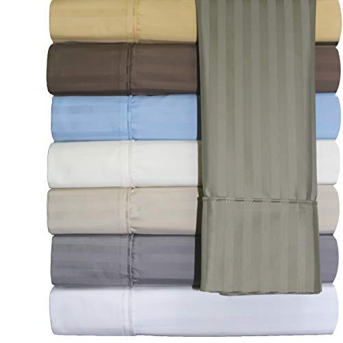 Abripedic Bettlaken-Set, faltenfrei, Fadenzahl 650, Tiefe Tasche, Baumwollmischgewebe Twin XL Blue-Striped -