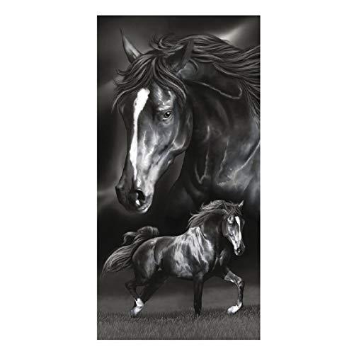 Strandtuch Pferd schwarz und weiß Handtuch, Frottee, Velours Fotodruck 75x 150cm