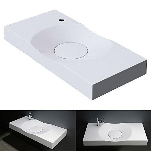 BTH: 100x48x10 cm Design Waschbecken Colossum15-L, in reinweis, aus Gussmarmor, als Aufsatzwaschbecken und Hängewaschbecken geeingnet