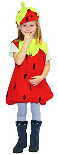 Erdbeer-Kostüm Rot & Grün für Mädchen | Größe 116/128 | 2-teiliges Obst Kostümierung für Karneval | Frucht-Verkleidung für Fasching | Süßes Früchtchen Karnevalskostüm für Fastnacht & (Kostüm Blatt Ideen)
