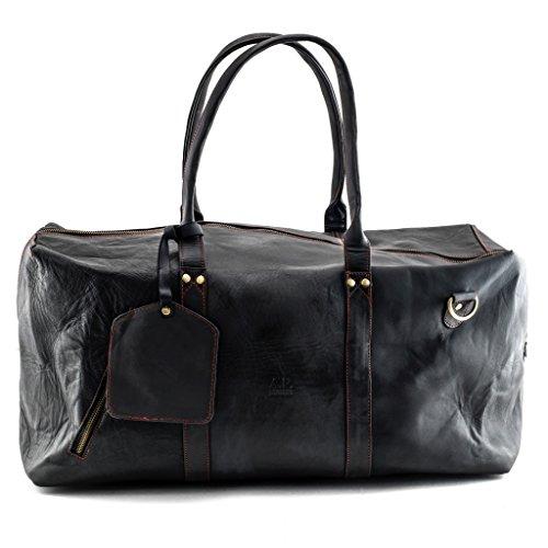 A.P. Donovan - Weekender Leder Herren vintage - Reisetasche - duffle bag - Sporttasche - Fitness-Tasche - schwarzes Rindsleder, 53cm x 29cm x 20cm