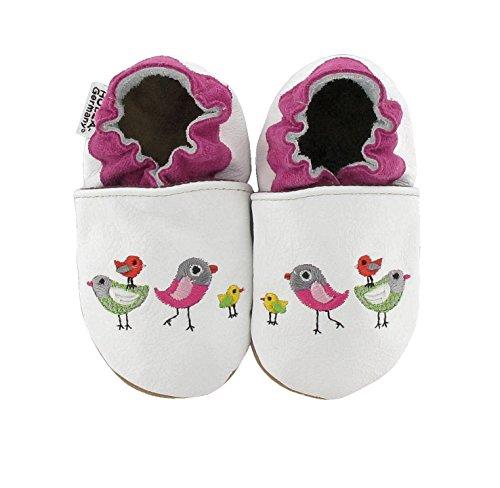 HOBEA Bestickte Krabbelschuhe Vögel, Weiß,Größe Schuhe:18/19 (6-12 Mon) (Schuhe Vögel)