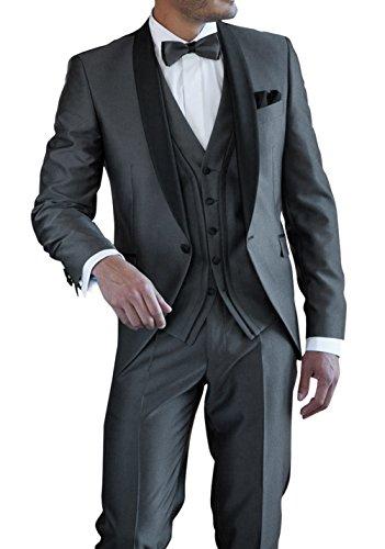 Suit Me Herren 3-Teilig Anzug Tuxedos Hochzeiten Party Smoking Anzuege Sakko,Weste,Hose Grey XL