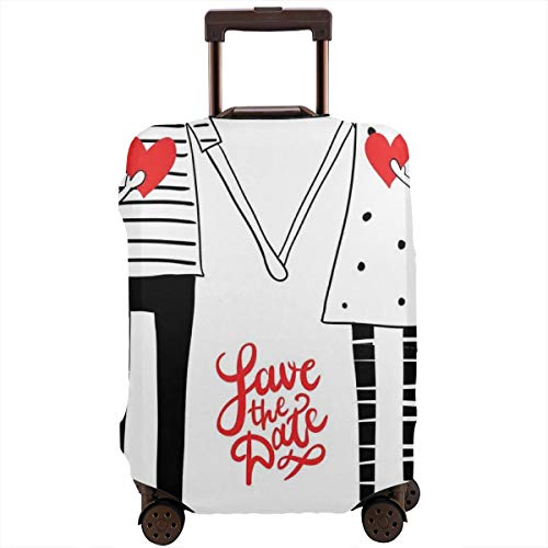 Travel Luggage Cover,Save The Date Quote with Doodle Couple Holding Hands with Hearts Suitcase Protector