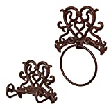Dibor - French Style Accessories for the Home Zeitraum Herz Design Gusseisen Wand-WC Tissue Rollenhalter & Wand montiert Herz Gusseisen Handtuch Ring
