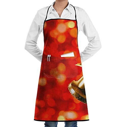 GDESFR Apron with Pock,Christmas Season with Bell Faction Unisex Kitchen Cooking Garden Apron,Convenient Adjustable Sewing Pocket Waterproof Chef Aprons
